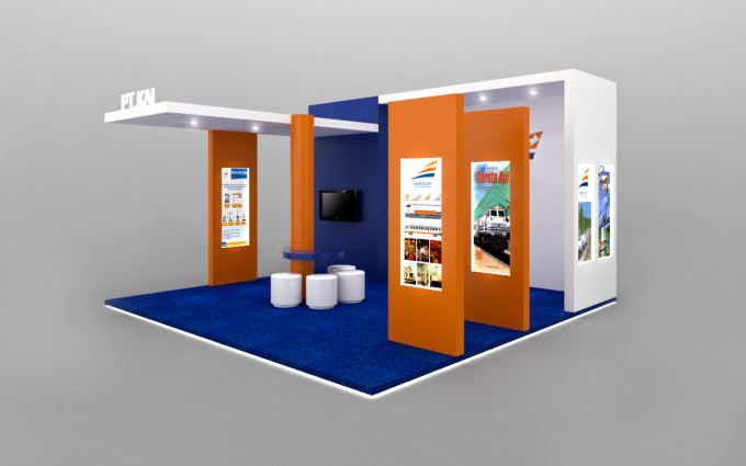 Simple Exhibition Stand Mixer : Create a simple design exhibition booth 3d by iyanyaqin