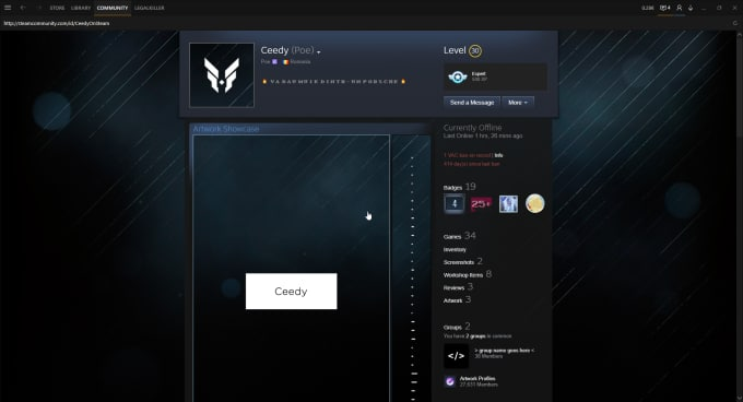 how to show artwork on steam profile
