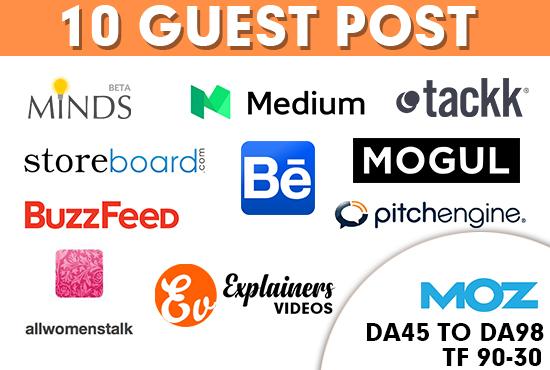 guest posts on 10 HQ blogs da45 to da98