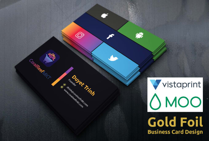 do vista print moo print and gold foil business card design - Foil Print Business Cards