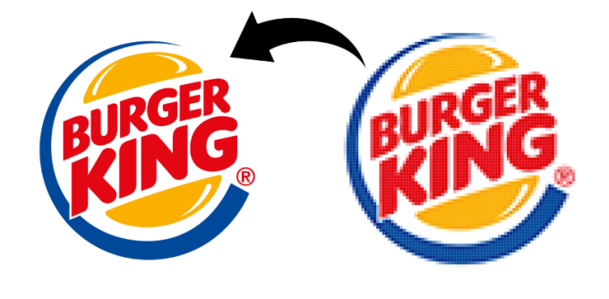 redraw your pixelated logo to vector