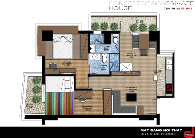 Draw Building And Interior Design In Autocad 48d By Thuydung548kd48 Gorgeous 2D Interior Design Property
