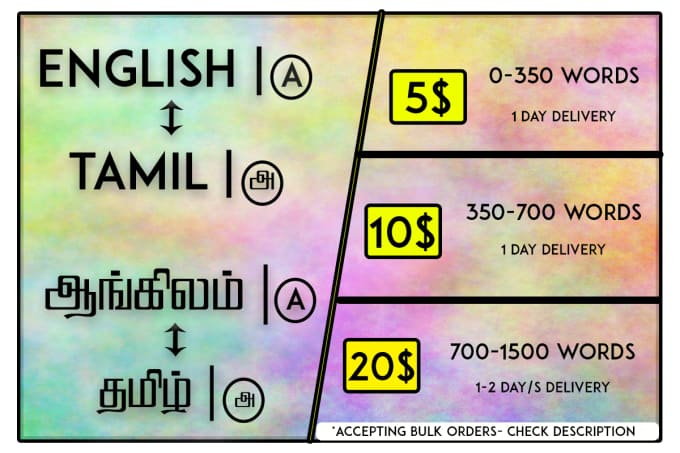 do english and tamil translation professionally