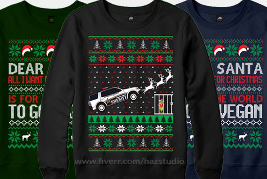 Ugly Christmas Sweater Design.Create Ugly Christmas Sweater Design For Your Business