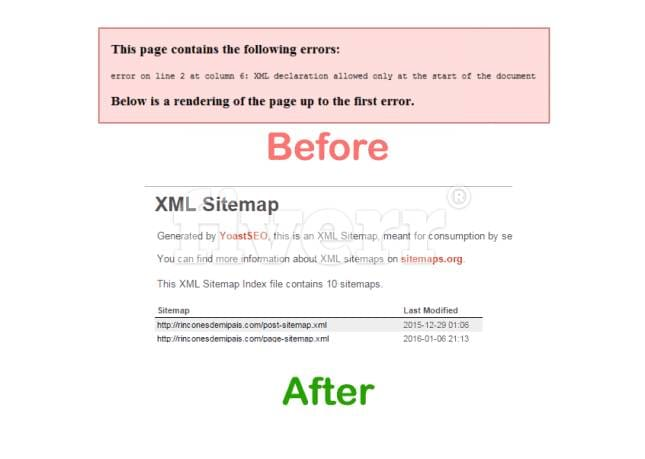 fix sitemap xml declaration or whitespace issue by ferdousoly