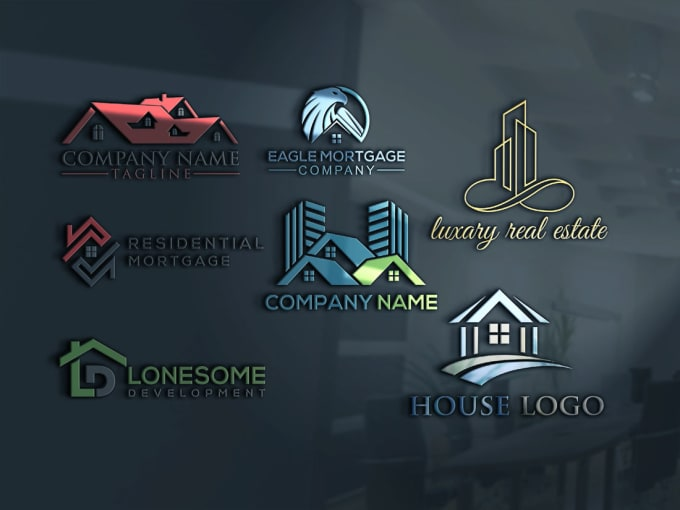 Design modern residential real estate house building logo ...