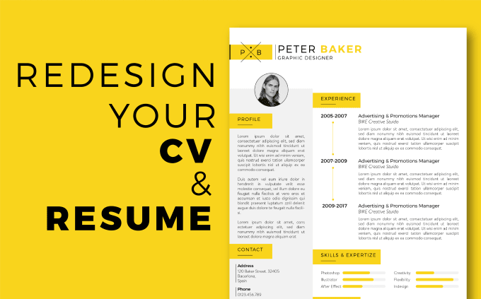 redesign your resume cv to top notch one fiverr