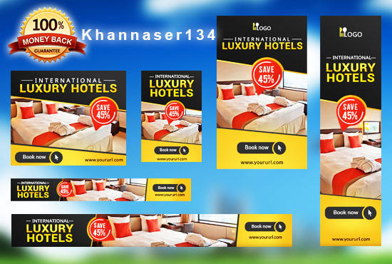 design eye catching web banners header google and any ads by