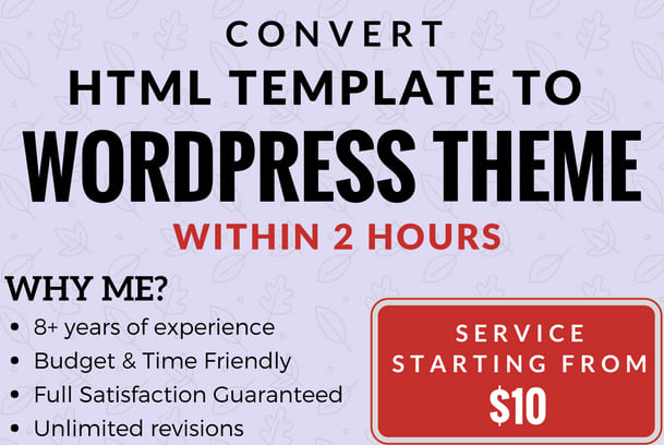 Convert html template to wordpress theme within 2 hours by Zmannz