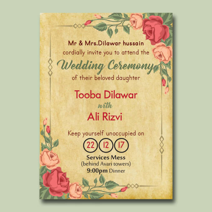 Design Wedding Birthday Party Event Invitation Cards By