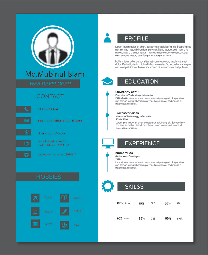design resume cv curriculum vitae cover letter by mubinulislam