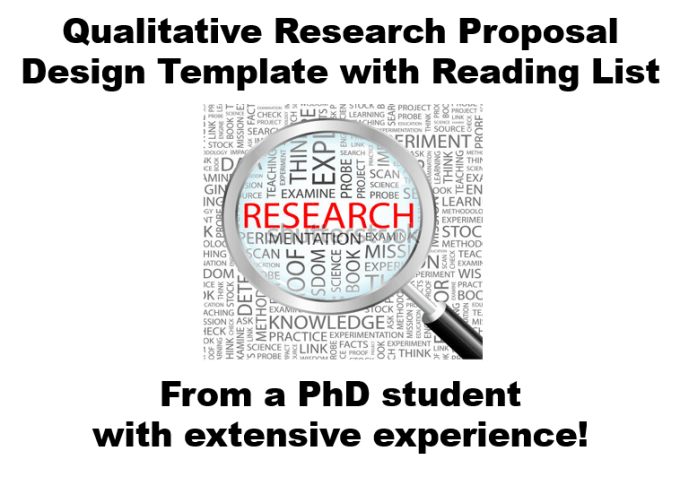 send you a qualitative research proposal design template and reading list