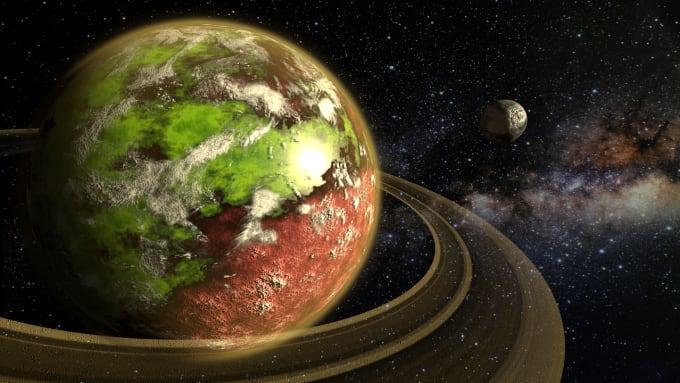 create space fantasy sci fi 3d planet