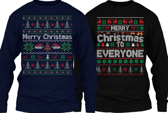 I will do ugly christmas sweater and t shirt design for teespring