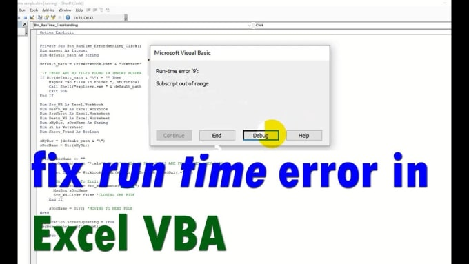 fix any error in existing excel macro or vba code