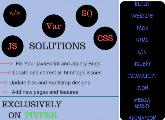 Code and fix all your javascript,jquery,html and css bugs by