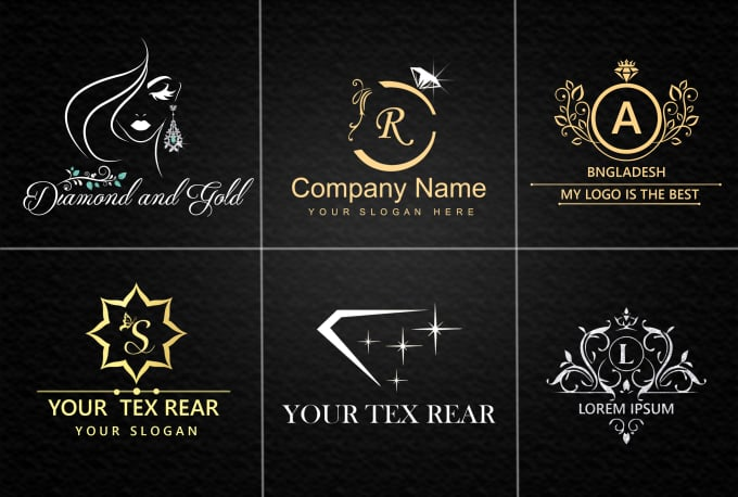 make jewelry shop luxury golden and glitter logo design company by