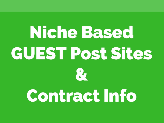 find guest post sites and contract info in your niche