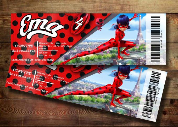 do a miraculous ladybug design ticket birthday invitation by eugeniamaria5