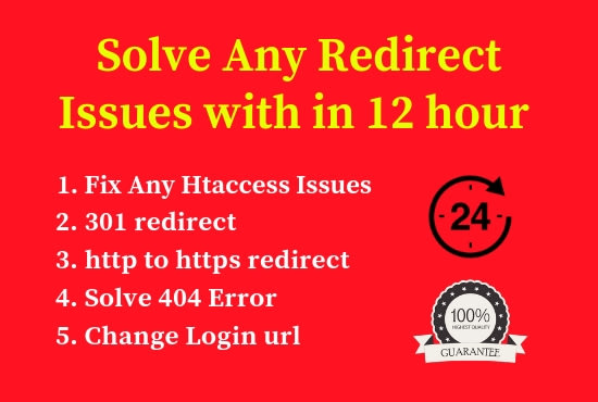 fix any redirect issues by 301 redirection and solve 404 error