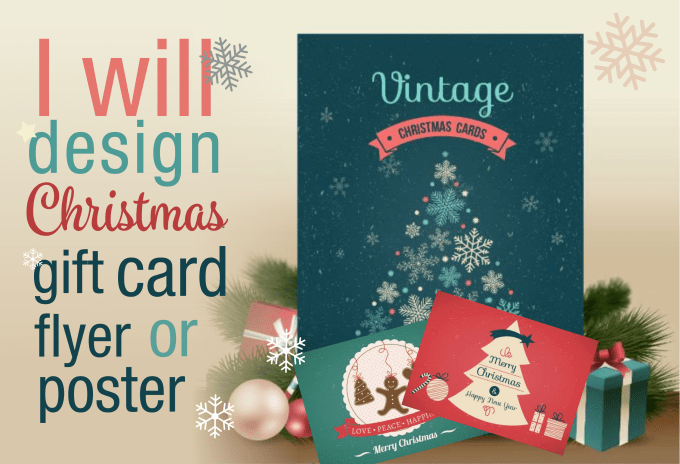 Christmas Gift Card Poster.Design Christmas Gift Card Flyer Or Poster