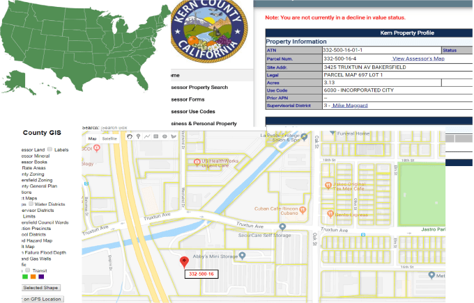do your real estate property research Kern County Essor Maps on