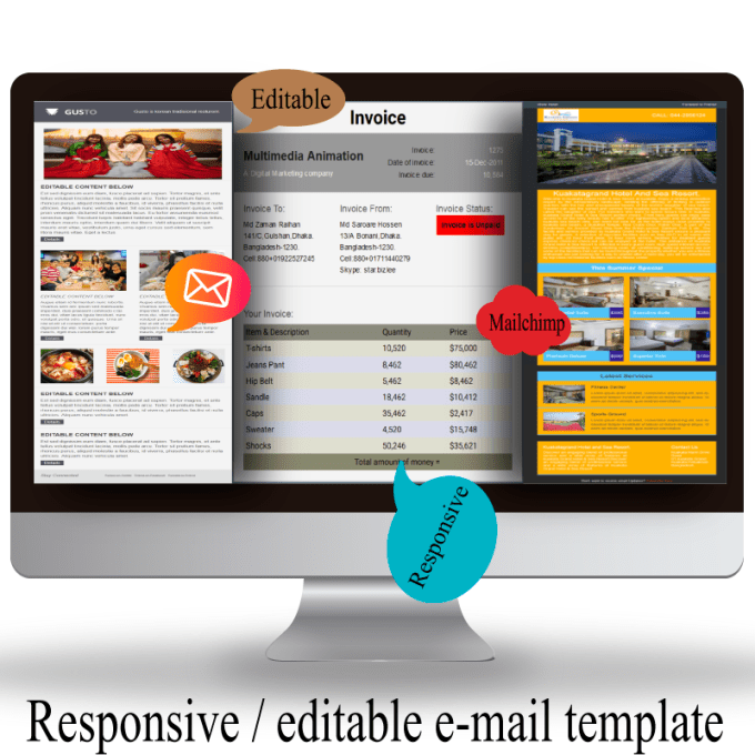 Design mailchimp editable responsive email template by Letonfiver