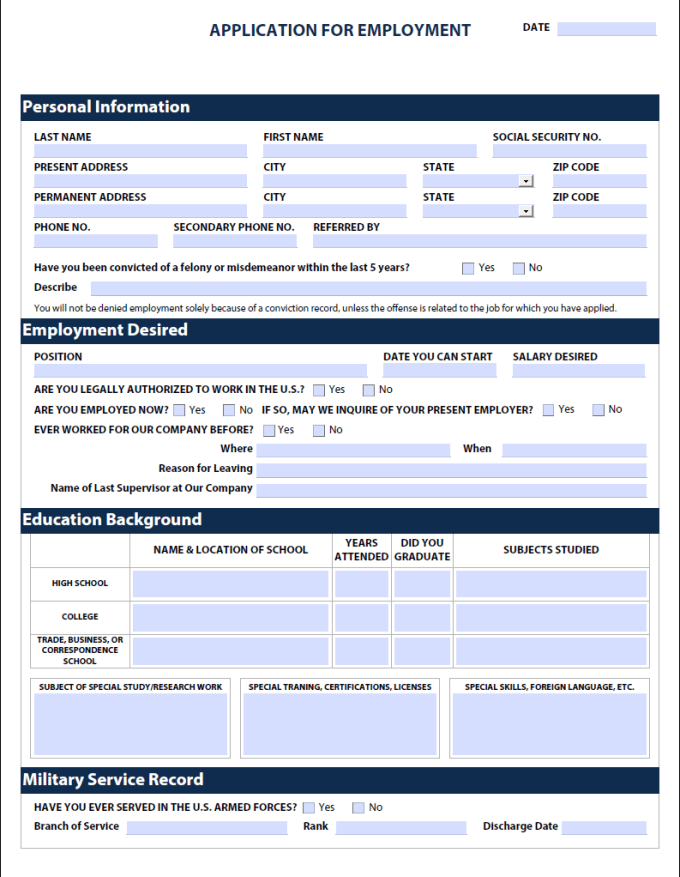 give you a fillable pdf job application form by pdfhelper