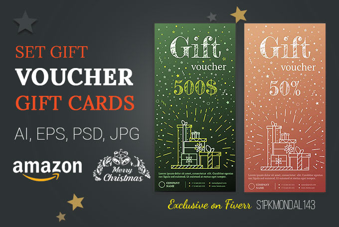 Christmas Gift Card Poster.Design Amazon Gift Card Voucher Flyer Poster Coupon