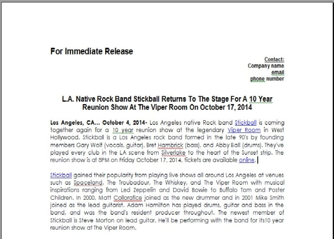 music press release example