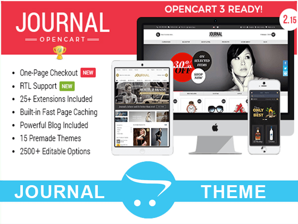 install opencart and customize journal theme