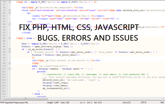najmul30 : I will fix any php, html, css, wordpress errors, bugs and issues  for $5 on www fiverr com