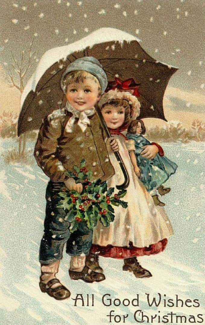 Vintage Christmas Cards.Vintage Christmas Cards For Family And Kids
