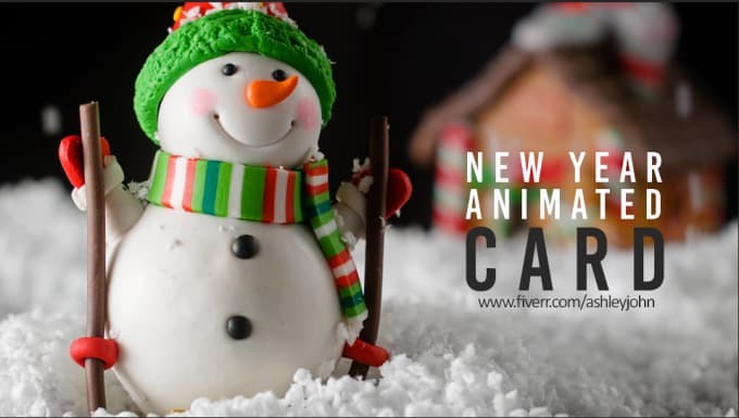 create new year card video animation