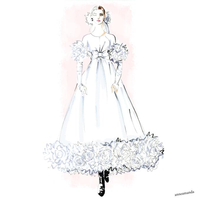 draw a fashion illustration of your wedding dress