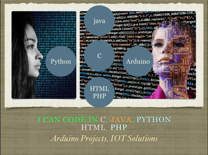help in c java python html PHP arduino and iot