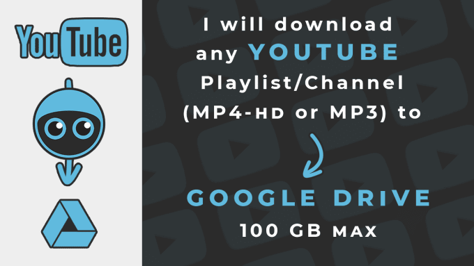 download youtube playlist or channel to google drive