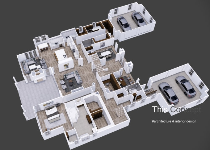 render 3d floorplan of apartment, house