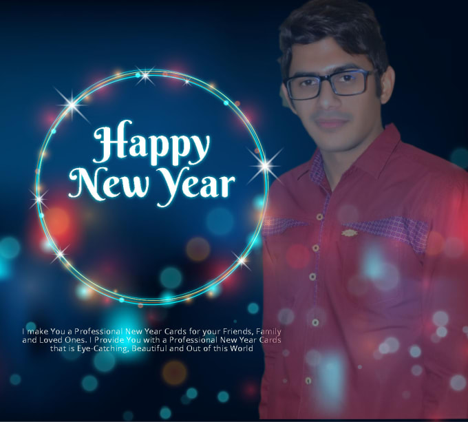 create a happy new year card with pic by zohaibjaved