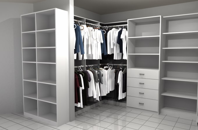 Do Walk In Closet Design, Layout, 3d Model And Shop Drawing