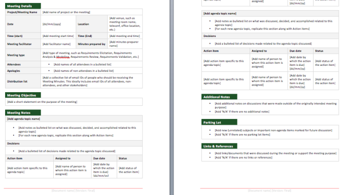 microsoft office meeting minutes template