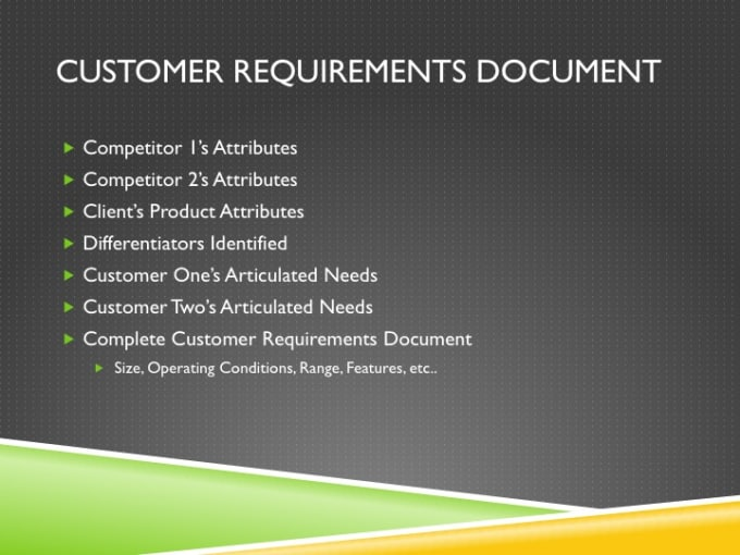 Gather The Voc And Draft Customer Requirements Documents