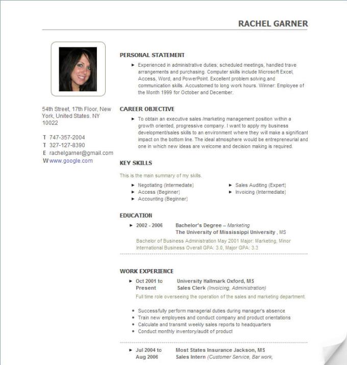 Make A Professional And Presentable Resume For You By Noorbaoo