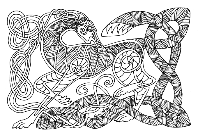 Draw Any Animal You Like In Celtic Knot Work Style