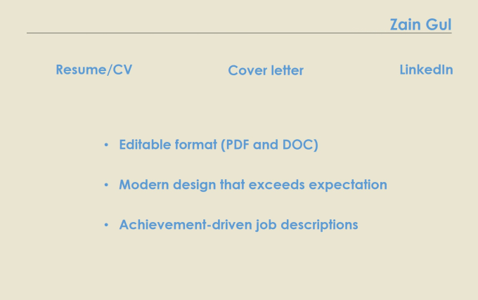 create your resume cover letter and linkedin by zain gul