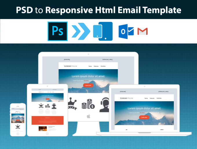 Convert psd to responsive html email template by Embicicr