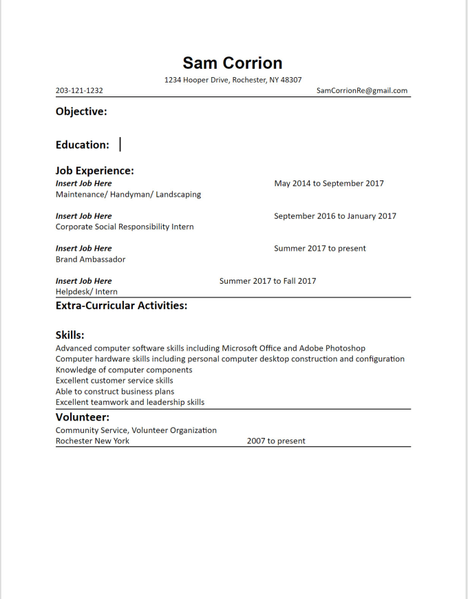 Create Your Resume For You In Google Drive By Samtheman17