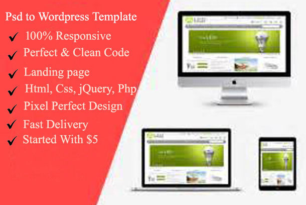 Convert psd,png,jpeg,pdf to wordpress website and html by Farid3337