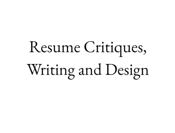 professionally critique your resume