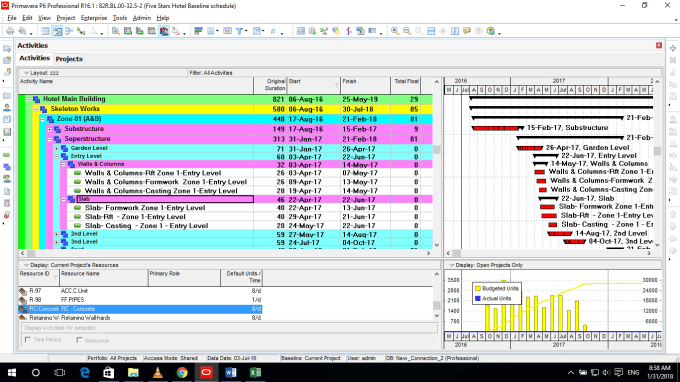 create project time schedule gantt cash flow resources histograms by